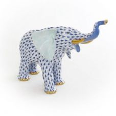 Herend Porcelain Fishnet Figurine of a Mother Elephant